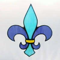 Stained Glass Fleur de Lis Sun Catcher Purple and Teal Free Shipping