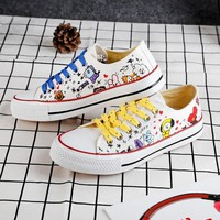 KPOP BTS Bangtan Boys Army Unisex Fashion New   BT21  Boys Canvas Low Tops Shoes JUNGKOOK JIMIN V Suga Women Casual Shoes  Ship AT_89_10
