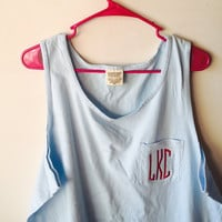 Monogrammed Pocket Tank Top - Comfort Colors
