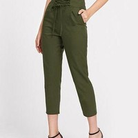 High Waisted Corset Ankle Trousers - Olive