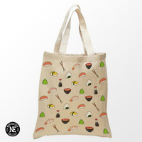 Sushi Pattern Tote Bag - 15X16 Inch Natural Tote Bag, White & Black- Japanese Food - Salmon Sushi - Miso Soup - Chopsticks - Shrimp