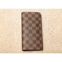 Lv Louis Vuitton Men and women Chessboard long wallet wallet Coffee Check B