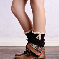 Lace Trim 2 Button Cable Knit Boot Cuffs Coffee Dark Brown Ankle Socks
