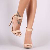 Buckle Ankle Strap Open Toe Stiletto Heel