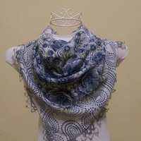 DISCOUNT!! Gray Scarf-Grey Scarf-White Scarf-Lace-Turkis Lace-Needle Lace-Oya-Ethnic Scarf-Christmas Gift-Valentinas Day Gift