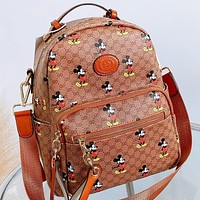 GUCCI & Disney New fashion more letter mouse print leather backpack bag book bag handbag Brown