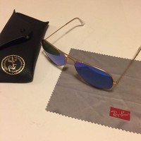 Cheap Ray Ban RB Aviator 3025 Mirrored Blue Lens Unisex Sunglasses outlet