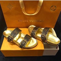 Louis Vuitton LV Women Buckle Leather Fashion Slipper Sandals Shoes