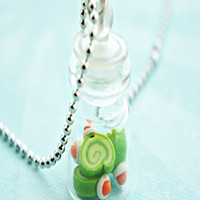 green tea cake slices in a jar necklace