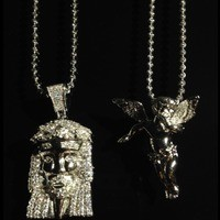 "NEW Jesus Piece & Micro Angel Pendant w/ 24"" & 30"" Chains SET .925 Jesus Head from DFINE LIFESTYLE"