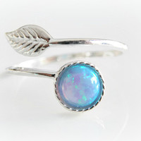 Sterling Silver Opal Ring - Petite Opal Thumb Ring - Synthetic Blue Opal -  Boho Adjustable Ring