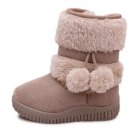 2018 Winter Girls Boots Warm Cotton Snow Boots For Kids Children Sweet Boots With Fur Ball Hair Ball Pendant Cute Candy Colors