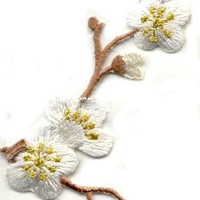 Beautiful FLOWER LEFT WHiTE BROWN StEM Applique Iron or Sew On patch by Cedar Creek patch Shop on Etsy