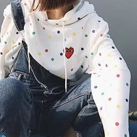 """""""Comme des garçon play"""" Fashion Women Men Heart Embroidery Colorful Wave Point Print Hooded Couple Sweater Top Sweatshirt I13843-1"""