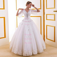 V-Neck Beading Half Sleeves Lace-Up Back Wedding Dresses/Ball Gown/Bridal Gown/Long Wedding Dresses/X111