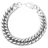 Vintage Stainless Steel Link Bracelet Jewelry For Men - Silver