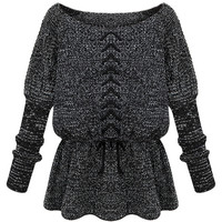 ROMWE | ROMWE Lace-up Ruffle Elastic Waist Black Jumper, The Latest Street Fashion