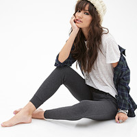 FOREVER 21 Heathered Drawstring Sweatpants Charcoal