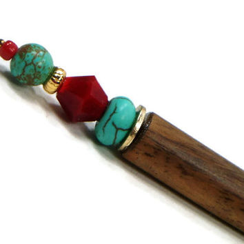 Laying Tool Sewing Stiletto Needlepoint Red Turquoise Beaded Quilting Tool Shawl Pin Hairstick