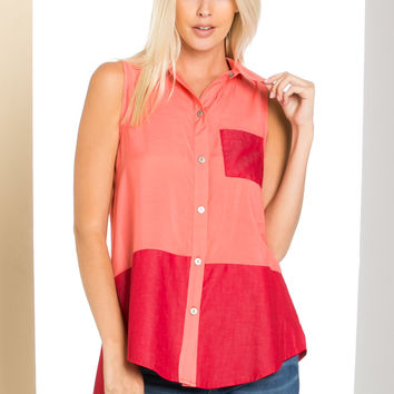 Button Me Up Red Coral Sleeveless Tank