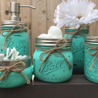 Hand Painted Mason Jar Bathroom Set, Mason Jars, Housewarming Gift, Bridal Shower Gift, Wedding Gift,  Mason Jar Soap Dispenser,Gift for Her