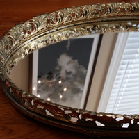 Vintage Ornate Gold Toned Mirror Dresser Tray Great for Creating a Display Mother's Day Bridesmaid Maid of Honor Gift