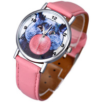 Adorable Cat w/ Chewing Gum Watch w/ Pink Leather Bands