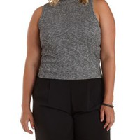 Plus Size Med Gray Combo Marled Mock Neck Crop Top by Charlotte Russe