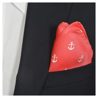 Anchor Pocket Square - Port (Coral Red)