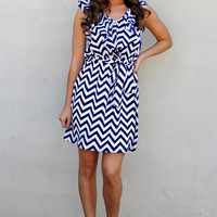 Obsessed With Chevron Dress: Navy | Hope's