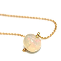 Huge Opal Necklace Ethiopian Opal Necklace Opal Jewelry Simple Necklace Delicate Necklace Orb Necklace Everyday Jewelry Opal Ball Necklace