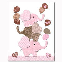 Nursery art elephant baby girl room wall decor pink brown baby shower decorations gift kids artwork children poster playroom print toddler