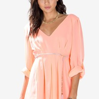 Roll Sleeve Chain Belted Romper