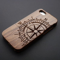 Buy 1 Get 1 Free - Compass Wood iPhone 5C , 4 Case - Walnut Wood iPhone5C Case - Real Wood iPhone 5C Case - Natural iPhone4 Case Wood (M17)