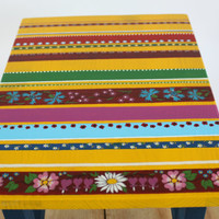 boho style wood stool - wooden small bench - etno ornaments - wedding gift - seating for kitchen or living room - painted furniture