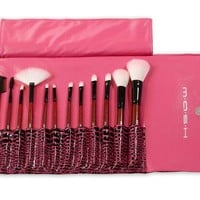 MASH 12pc Studio Pro Makeup Make Up Cosmetic Brush Set Kit w/ Leather Case - For Eye Shadow, Blush, Concealer, Etc (Pink) by MASH