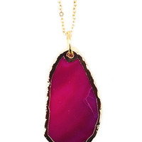 Hot Pink Agate Slice Layering Necklace