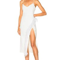 White Feathers And Buttons Bandage Dress
