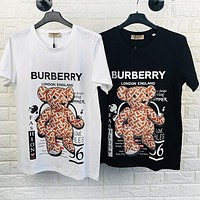 BURBERRY Hot Sale Women Men Leisure Bear Print Short Sleeve T-Shirt Top Blouse