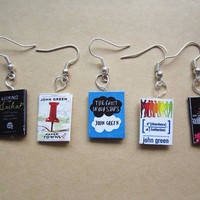 John Green collection book charm Earings -The fault in our stars, paper towns, looking for Alaska, WG WG, an abundance of Kartherines