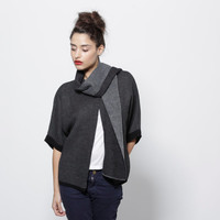 Women black knitted sweater with a scarf grey cardigan winter sweater