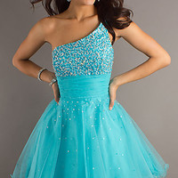 One Shoulder Short Turquoise Party Dress by Dave and Johnny