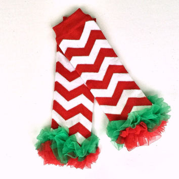 Red & White Chevron Ruffled Leg Warmers