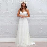 Boho Beach Wedding Dress 2017 Robe de Mariee Sexy Spaghetti Straps Country Bohemian Wedding Dresses Simple Cheap Bridal Gowns