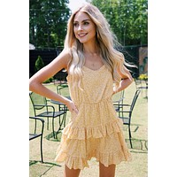 Lilah Floral Ruffle Dress, Yellow Floral
