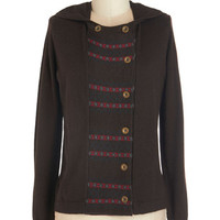 ModCloth Boho Mid-length Long Sleeve Double Breasted Pawn Top of Your Game Cardigan