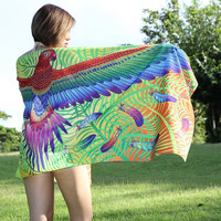 Original Parrot Scarf Wings Feathers Birds