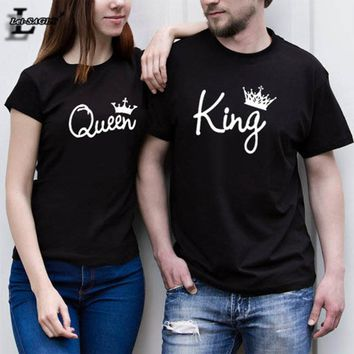 Valentine Shirts Woman Cotton King Queen Funny Letter Print Couples Casual T-shirt Hipster Man Tshirt Short Sleeve O neck Tops