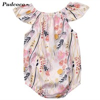 2017 Summer Baby Rompers Short Sleeve Baby Girls Clothing Sets Floral Print Kids Jumpsuits Newborn Baby Boy Clothes