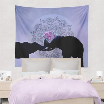 Reiki Charged Elephant Love Tapestry Purple and Black with Pink Lotus Elephant Wall Hanging